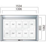跳ね上げ式自立アルミ掲示板 AGS-1510W(幅1534mm) 照明なし シルバーつや消し AGS-1510W(S)