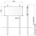 コンクリ基礎不要 打込杭サイン コンパス W1200×H600 (KCO-12060)