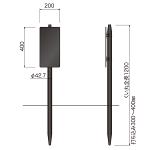 コンクリ基礎不要 打込杭ブラックサイン リーフ W200×H400 (LCO-2040)