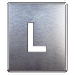 吹付け用アルファベットプレート 350×300 表示内容:L (349-26A)