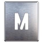 吹付け用アルファベットプレート 350×300 表示内容:M (349-27A)