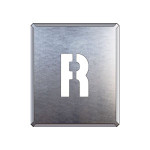 吹付け用アルファベットプレート 350×300 表示内容:R (349-32A)