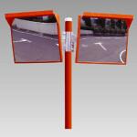 道路設置用角型カーブミラー アクリル製二面鏡 ミラー・ポールセット ミラーサイズ:500×600mm (384-30)