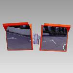 道路設置用角型カーブミラー アクリル製二面鏡 ミラーのみ ミラーサイズ:500×600mm (384-68)