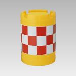 丸型クッションドラム 1型 赤白格子柄 (385-23)