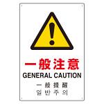4カ国語標識 平板タイプ アルミ製 一般注意 H450×W300(802-916)