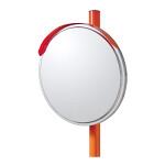 道路設置用カーブミラー ステンレス製一面鏡 ミラー・ポールセット ミラーサイズ:φ800mm (869-07)