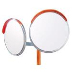 道路設置用カーブミラー ステンレス製二面鏡 ミラー・ポールセット ミラーサイズ:φ600mm (869-20)