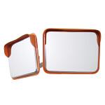 道路設置用角型カーブミラー ステンレス製二面鏡 ミラーのみ ミラーサイズ:600×800mm (869-45)