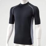 冷感パワーストレッチシャツ半袖黒M