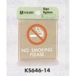 表示プレートH ドアサイン 角型 ステンレス 表示:NO SMOKING PLEASE (KS646-14)