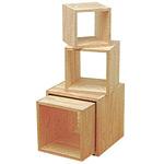 木製サイコロボックス 白木 (無塗装) 25cm角 (40170***)