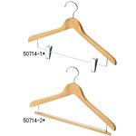 木製屈折ハンガー クリア 10本入り 種別:クリップ付 (50714-1*)