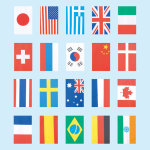 テトロン20ヶ国連続旗(小) (55083)