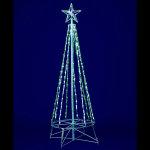 グリーン&ホワイトLEDスノーフォールタワーツリー120cm (046853)