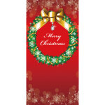 タペストリークリスマスリース(防炎) (044153)