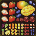 フルーツ(3) 看板・ボード用イラストシール (W285×H285mm)