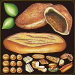 パン(3) 看板・ボード用イラストシール カレーパン大(W285×H285mm)
