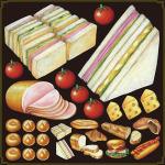 パン(4) 看板・ボード用イラストシール サンドウィッチ(W285×H285mm)