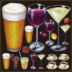 ビール・ワイン・ドリンク全般 看板・ボード用イラストシール (W285×H285mm)