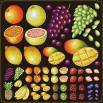 フルーツ(マンゴー・グレープ等) 看板・ボード用イラストシール (W285×H285mm)