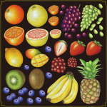 フルーツ(パイナップル・バナナ等) 看板・ボード用イラストシール (W285×H285mm)