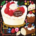 ケーキ(5) 看板・ボード用イラストシール (W285×H285mm)
