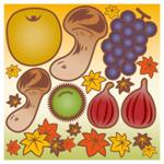 食欲の秋 看板・ボード用イラストシール (W285×H285mm)