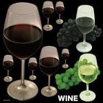 赤ワインと白ワイン 看板・ボード用イラストシール (W285×H285mm)