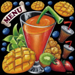 フルーツジュース 看板・ボード用イラストシール (W285×H285mm)