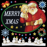 メリークリスマス3(サンタ) 看板・ボード用イラストシール (W285×H285mm)