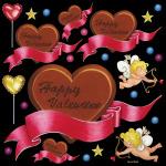 バレンタイン HAPPY 看板・ボード用イラストシール (W285×H285mm)