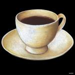 デコシール コーヒーカップ サイズ:ビッグ W600×H600 (61863)