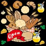 パン open 看板・ボード用イラストシール (W285×H285mm)