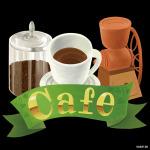 コーヒー豆 cafe 看板・ボード用イラストシール (W285×H285mm)
