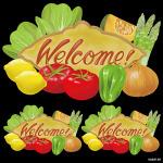 野菜 welcome 看板・ボード用イラストシール (W285×H285mm)