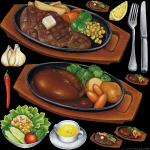 レストラン(1) 看板・ボード用イラストシール ハンバーグ(W285×H285mm)