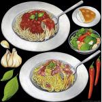 レストラン(2) 看板・ボード用イラストシール パスタ大(W285×H285mm)