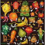 フルーツ&ベジタブルキャラクター 看板・ボード用イラストシール (W285×H285mm)