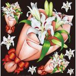 フラワー(3) 看板・ボード用イラストシール 百合の花束3つ(W285×H285mm)