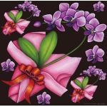 フラワー(4) 看板・ボード用イラストシール 紫(W285×H285mm)