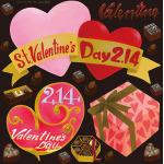 バレンタイン(1) 看板・ボード用イラストシール (W285×H285mm)