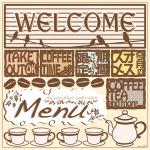 パンケーキカフェ(3) Welcome 看板・ボード用イラストシール (W285×H285mm)