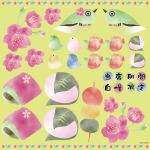 春(7) 看板・ボード用イラストシール (W285×H285mm)