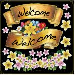 リボン Welcome ボード用イラストシール 花(68533)