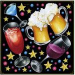 ビール・カクテル・ワイン ボード用イラストシール グラス5つ(68563)