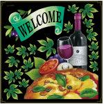 ピザ&ワイン・リボン ボード用イラストシール (68568)