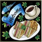 コーヒー・サンドイッチ ボード用イラストシール (68578)