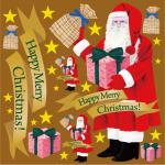 クリスマス サンタ(1) リアル 看板・ボード用イラストシール (W285×H285mm)