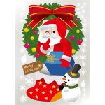 ウィンドウシール 両面印刷 クリスマス サンタクロース リース 雪だるま (6883)